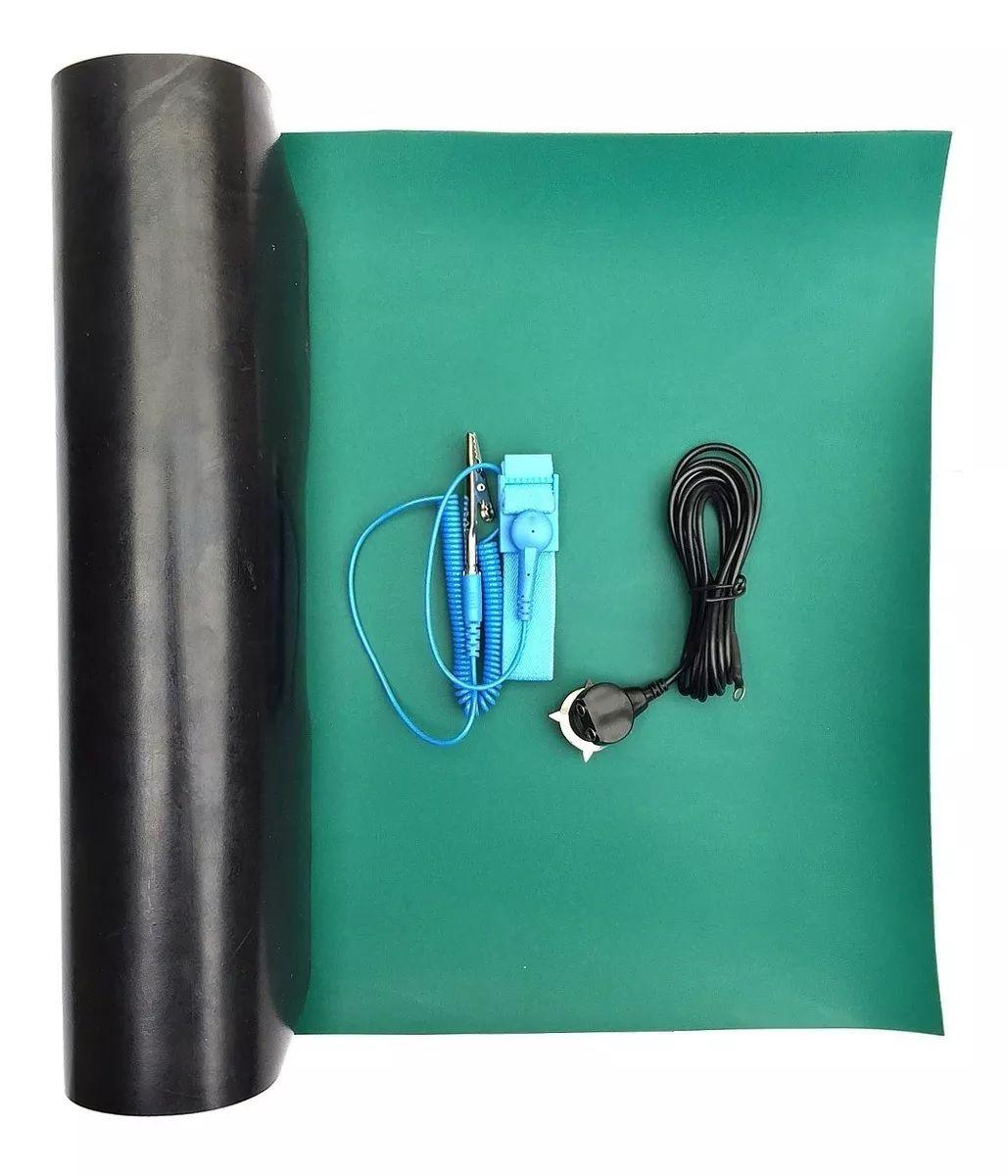 Kit Anti-estático com Manta Verde 30 x 50cm Cabo de aterramento e pulseira anti-estatica com fio  - MRE Ferramentas