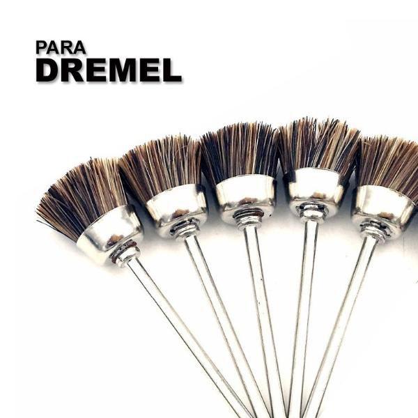 Kit C/5 Escova De Cerdas Pincel P/ Micro Retifica Dremel 405  - MRE Ferramentas