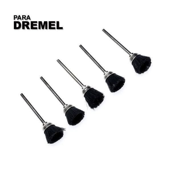 Kit C/5 Escova De Nylon Pincel P/ Micro Retifica Dremel 405n  - MRE Ferramentas