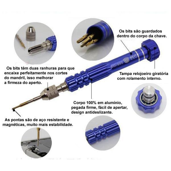 Kit Chave Precisão Profissional P/ Iphone T5 T6 Pentalobe  - MRE Ferramentas