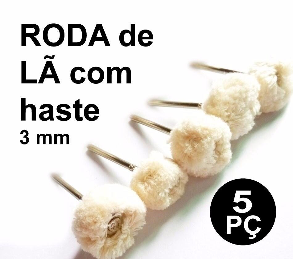 Kit Com 5 Rodas De Lã Para Polimento Micro Retifica Dremel  - MRE Ferramentas