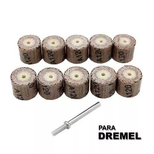 Kit Roda Lixa P/ Micro Retifica Dremel Gr120 C/10 Pc + Haste  - MRE Ferramentas