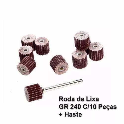 Kit Roda Lixa P/ Micro Retifica Dremel Gr240 + Haste C/10 Pcs  - MRE Ferramentas