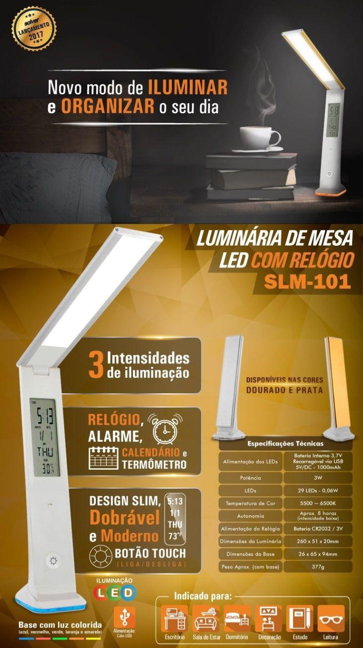 Luminária de Mesa Led Touch com Relógio Solver SLM-101  - MRE Ferramentas