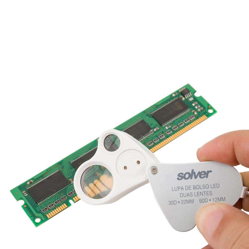 Lupa de Bolso Dupla 30X e 60X LED Solver SLD-132  - MRE Ferramentas