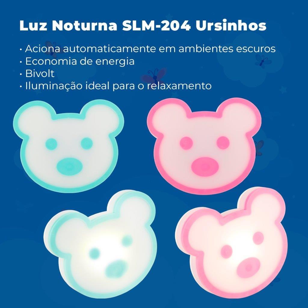 Luz Noturna LED Ursinho Rosa Solver SLM-204  - MRE Ferramentas