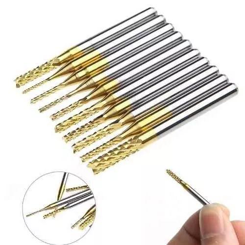 Micro Fresa Corte PCB CNC Titanium P/ Retifica Dremel C/10pc  - MRE Ferramentas