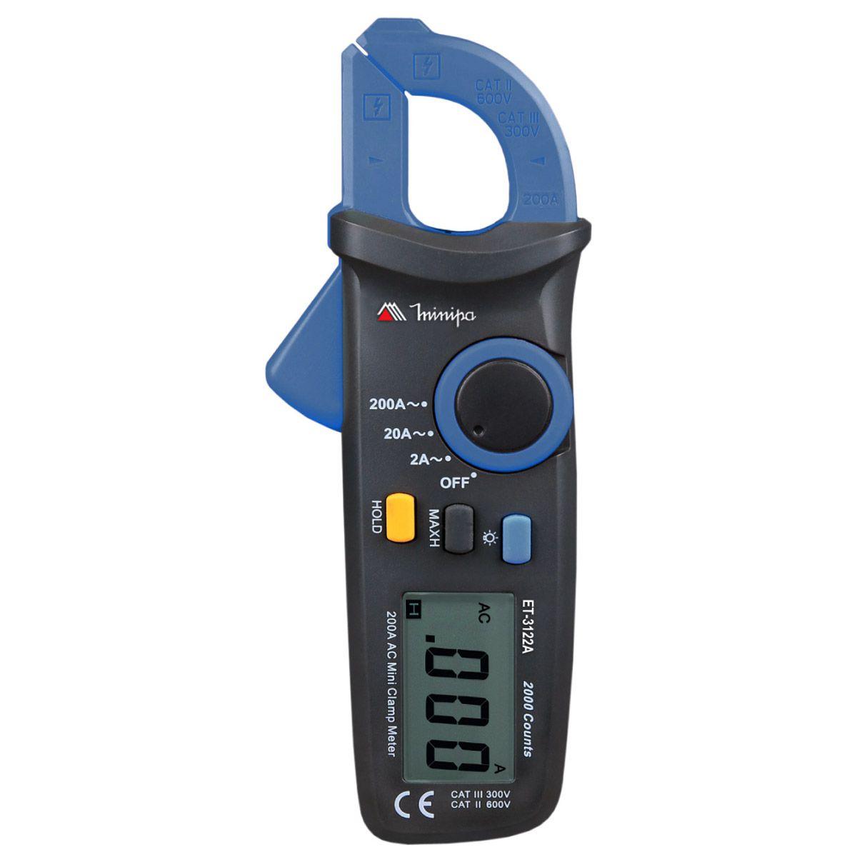 Mini Alicate Amperímetro 200ACA CAT III Minipa ET-3122A  - MRE Ferramentas