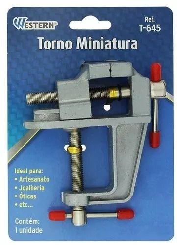 Mini Torno 35mm com Base Fixa Western T645  - MRE Ferramentas