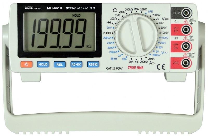 Multímetro de Bancada 4 ½ dígitos (19999) True RMS Icel MD-6610  - MRE Ferramentas