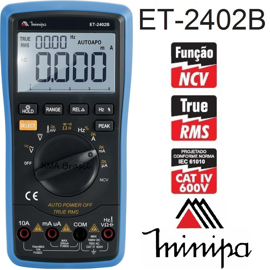 Multímetro Digital Minipa ET-2402B  - MRE Ferramentas