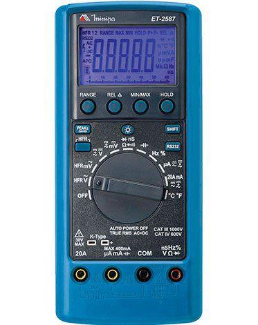 MultímetroTRUE RMS CAT IV USB 4 5/6 Dígital Filtro Passa Baixa e Condutância Minipa ET-2587  - MRE Ferramentas
