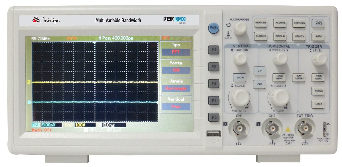Osciloscópio Digital 70MHz 2 Canais Minipa MVB-DSO   - MRE Ferramentas