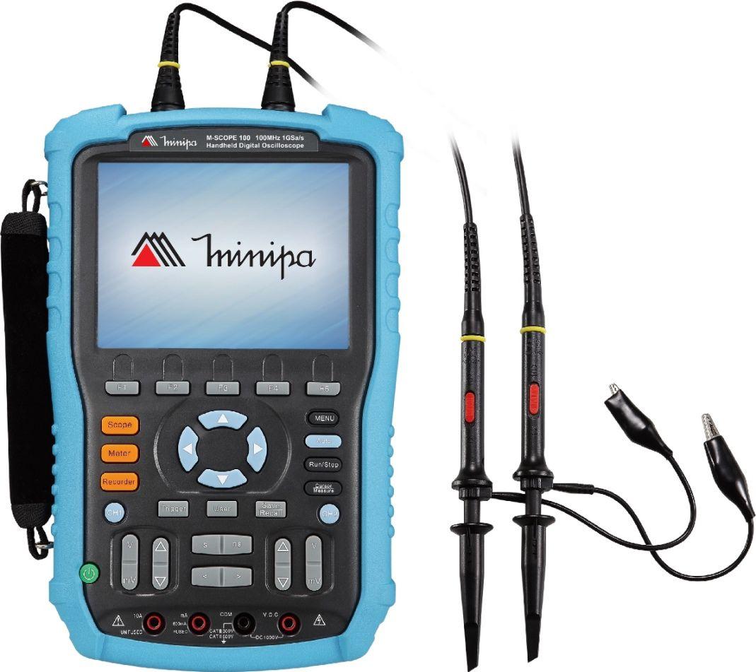 Osciloscópio / Multímetro Portátil 100MHz-2c-1GS/s-CAT III-USB - Minipa - MSCOPE-100  - MRE Ferramentas