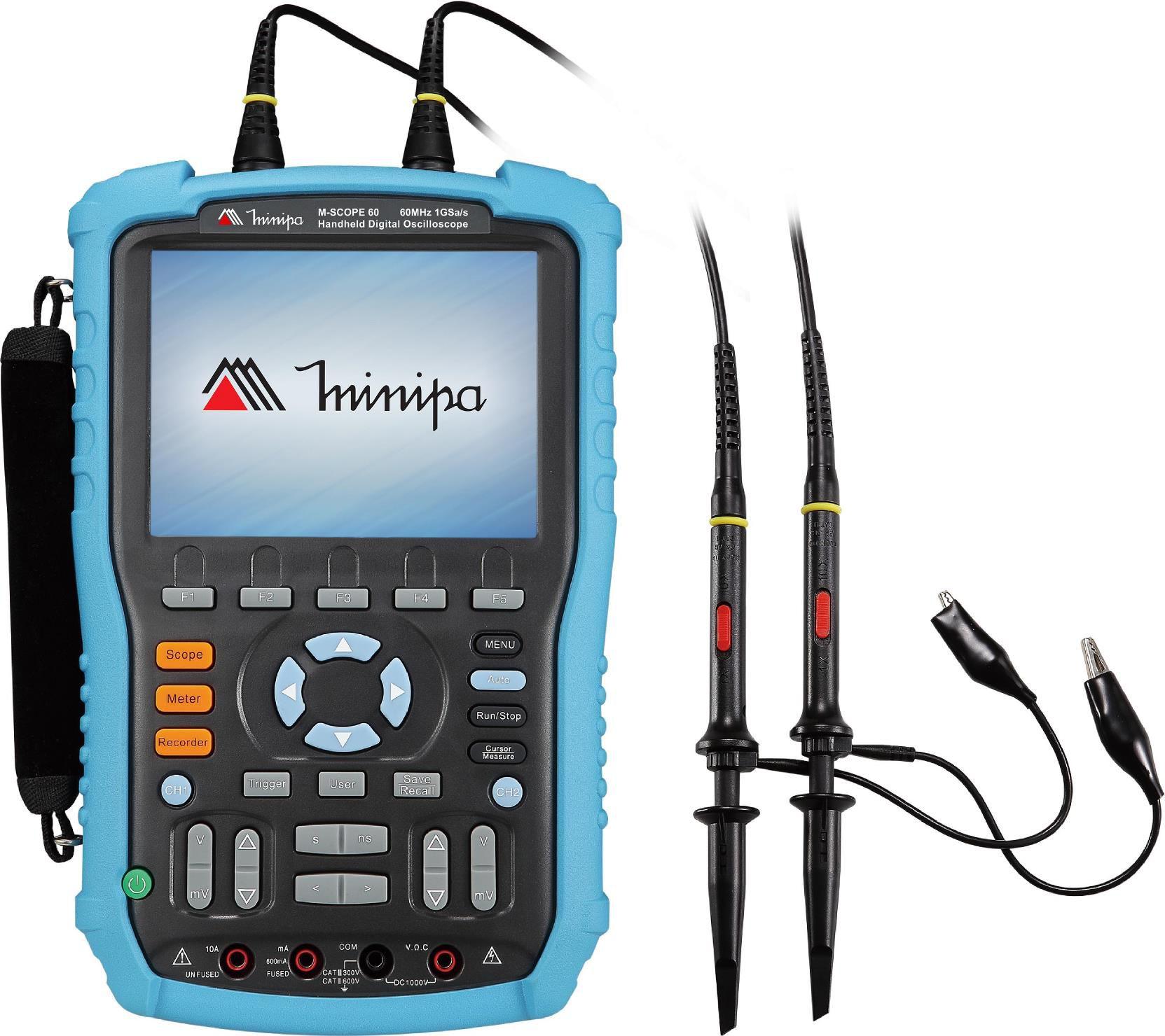 Osciloscópio / Multímetro Portátil 60MHz-2c-1GS/s-CAT III-USB- Minipa - MSCOPE-60  - MRE Ferramentas