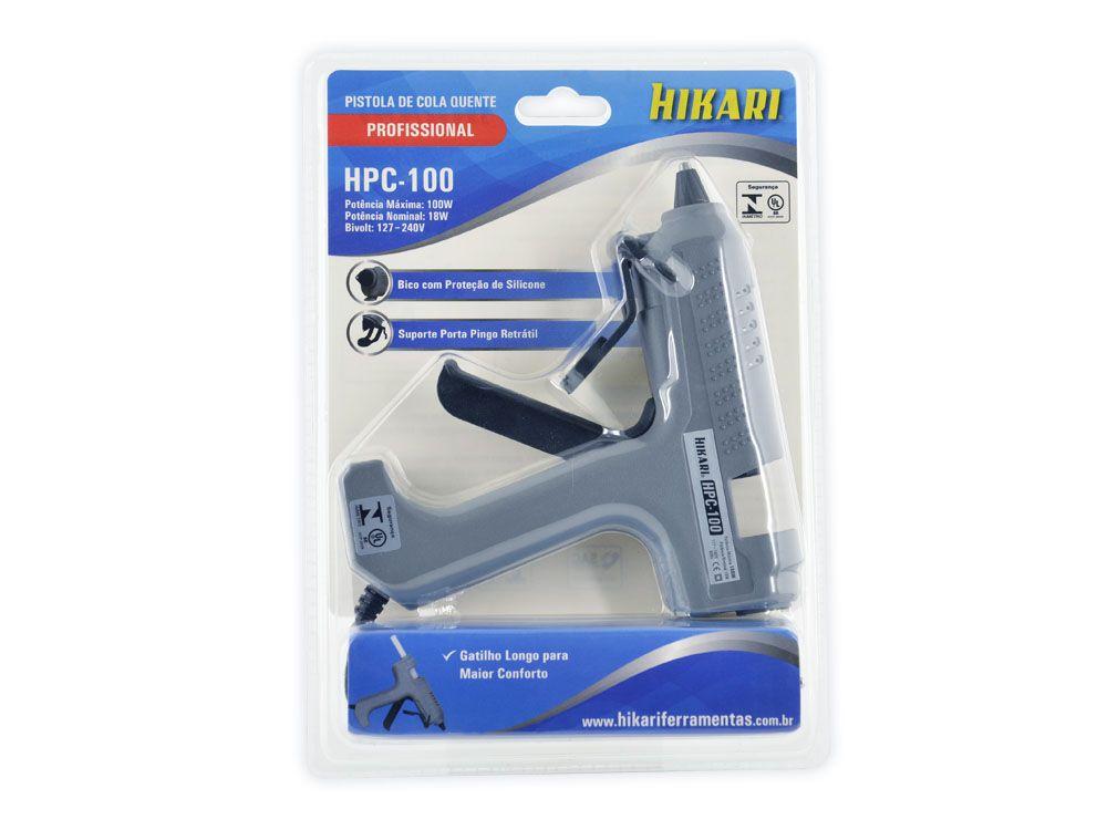 Pistola de Cola Quente Profissional 18W Hikari HPC-100  - MRE Ferramentas