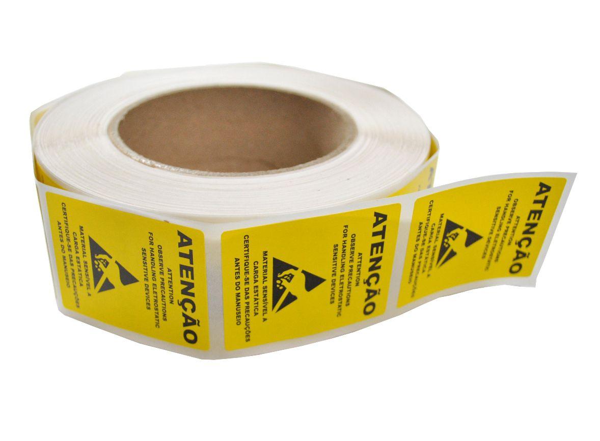 Rolo Etiqueta 1000 Peças Advertência e Lacre 40X50MM para Sacos Blindados Anti-Estáticas  - MRE Ferramentas