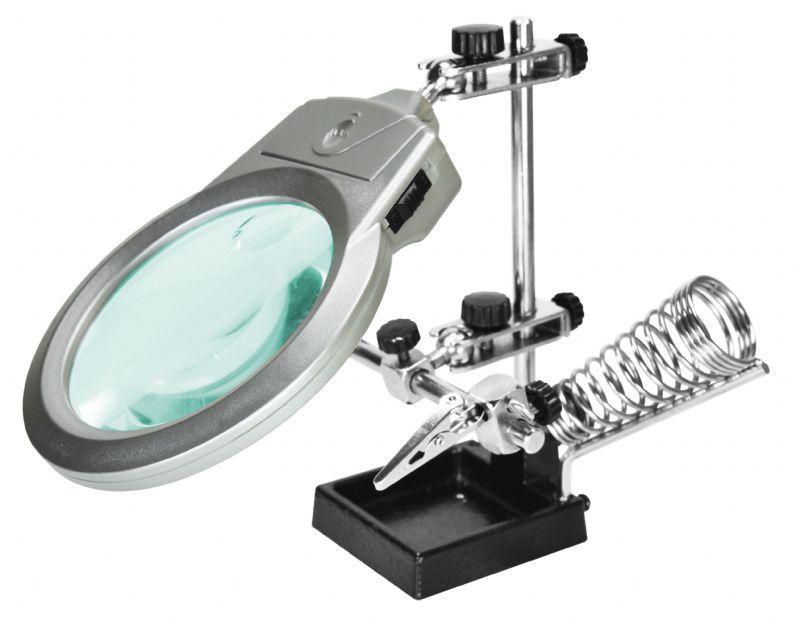 Suporte para Placa e Ferro de Solda com Lupa Iluminação LED Hikari Solver SLP-100  - MRE Ferramentas