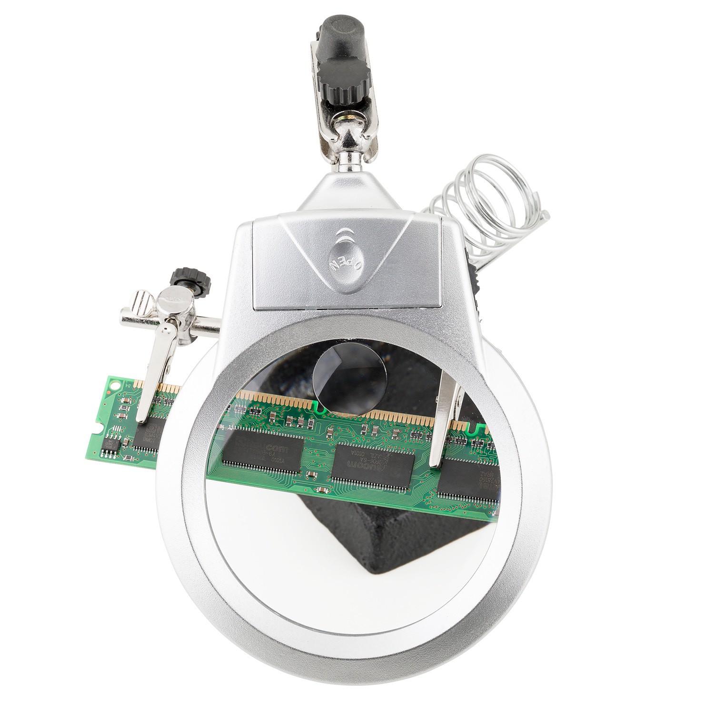 Suporte para Placa e Ferro de Solda com Lupa Iluminação LED Solver SLP-100  - MRE Ferramentas