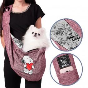 Bolsa Sling Zooz Pets Snoopy Heart Hug Vinho
