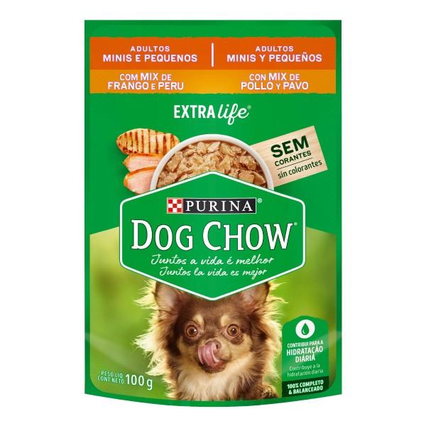 Alimento Úmido Nestlé Purina Dog Chow Sachê Extra Life Mix de Frango e Peru para Cães Adultos de Raças Minis e Pequenas  - Focinharia