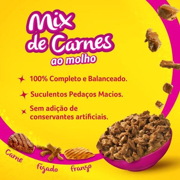 Alimento Úmido Nestlé Purina Friskies Sachê Mix de Carnes ao Molho para Gatos Adultos  - Focinharia
