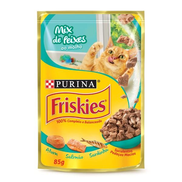 Alimento Úmido Nestlé Purina Friskies Sachê Mix de Peixes ao Molho para Gatos Adultos  - Focinharia