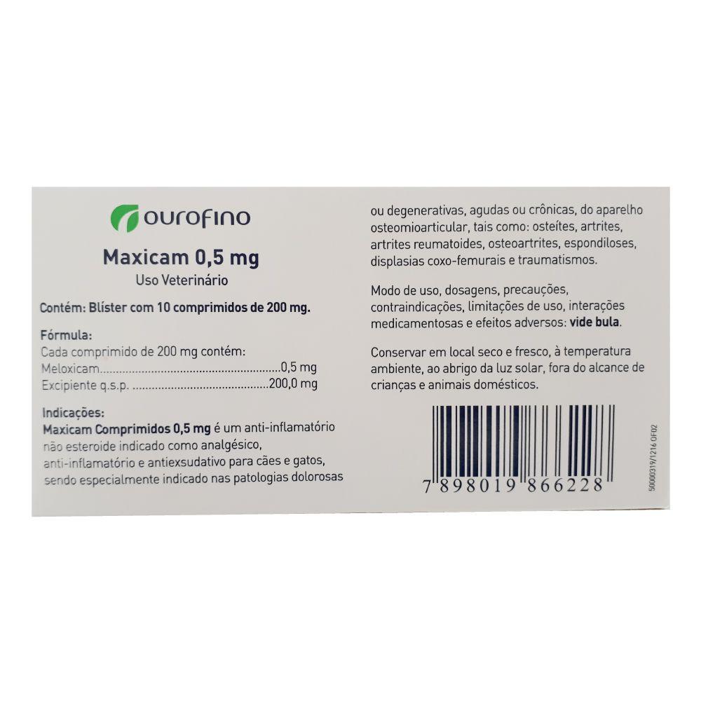 Anti-inflamatório Ourofino Maxicam 0,5 mg com 10 Comprimidos  - Focinharia
