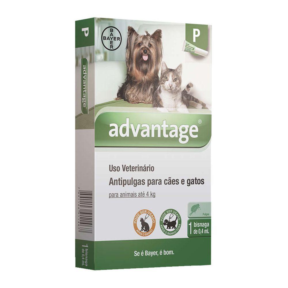 Antipulgas Advantage para Cães e Gatos de até 4 Kg - 0,4 mL  - Focinharia