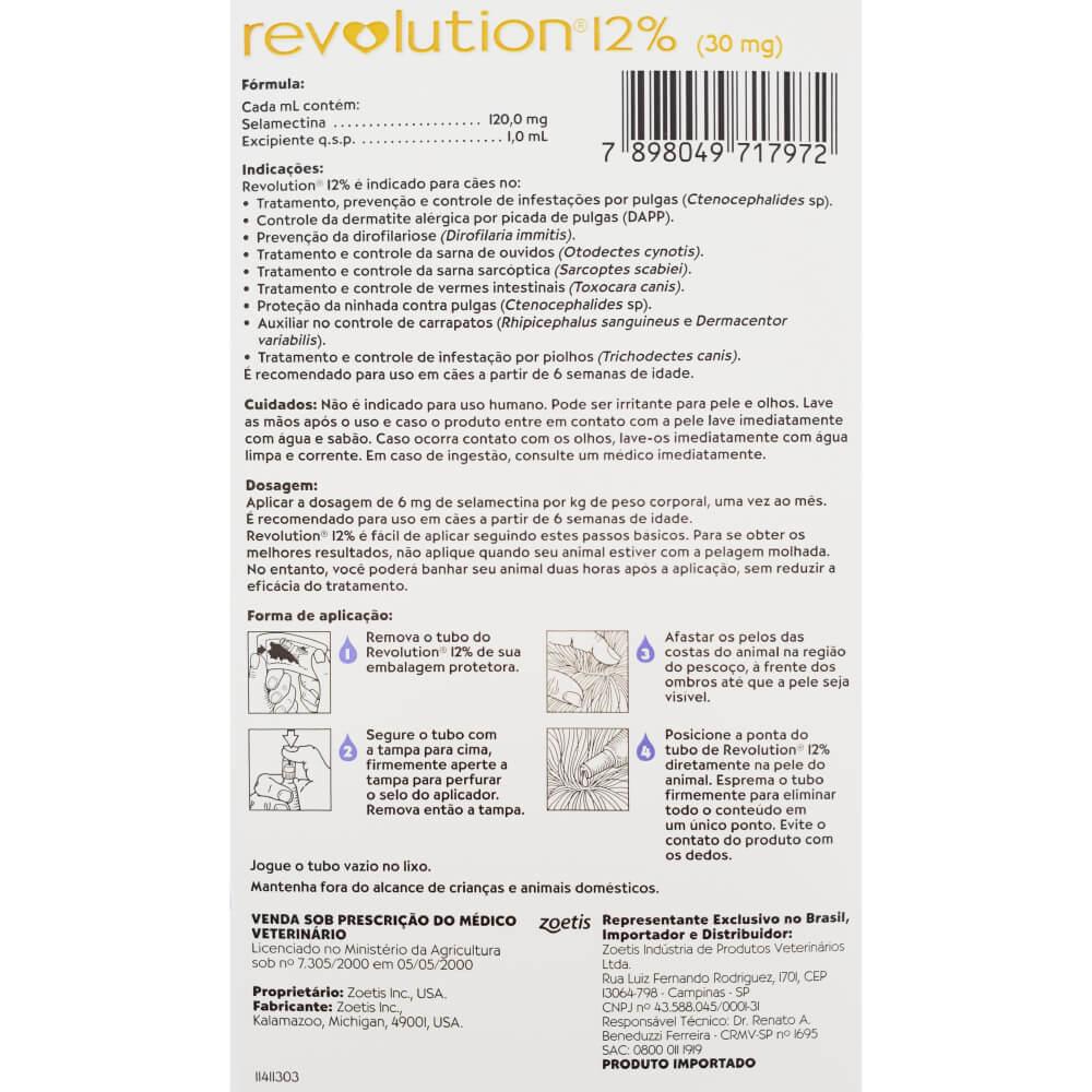 Antipulgas e Carrapatos Zoetis Revolution 12% para Cães de 2,6 a 5 Kg - 30 mg  - Focinharia