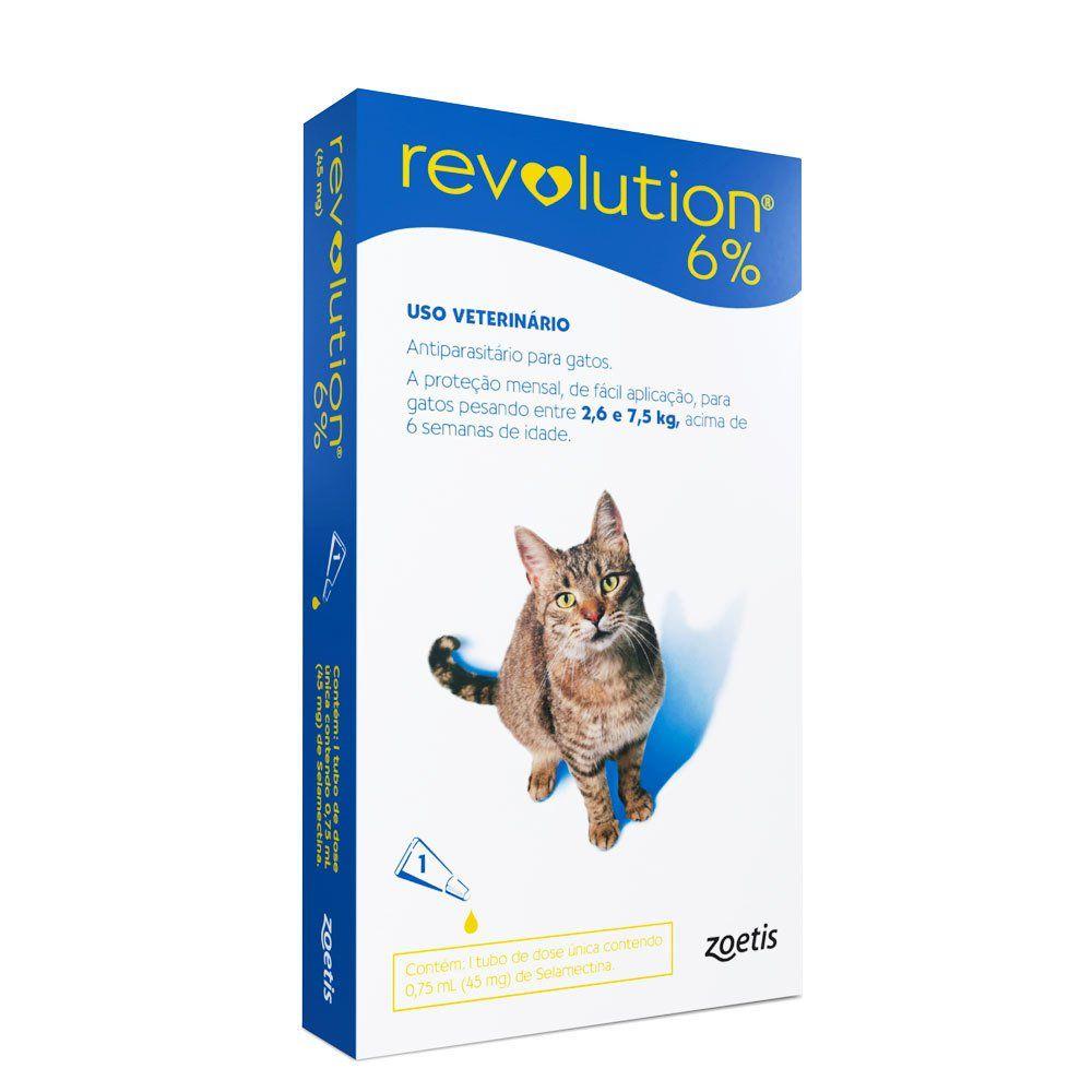 Antipulgas Zoetis Revolution 6% para Gatos de 2,6 a 7,5 Kg - 45 mg  - Focinharia