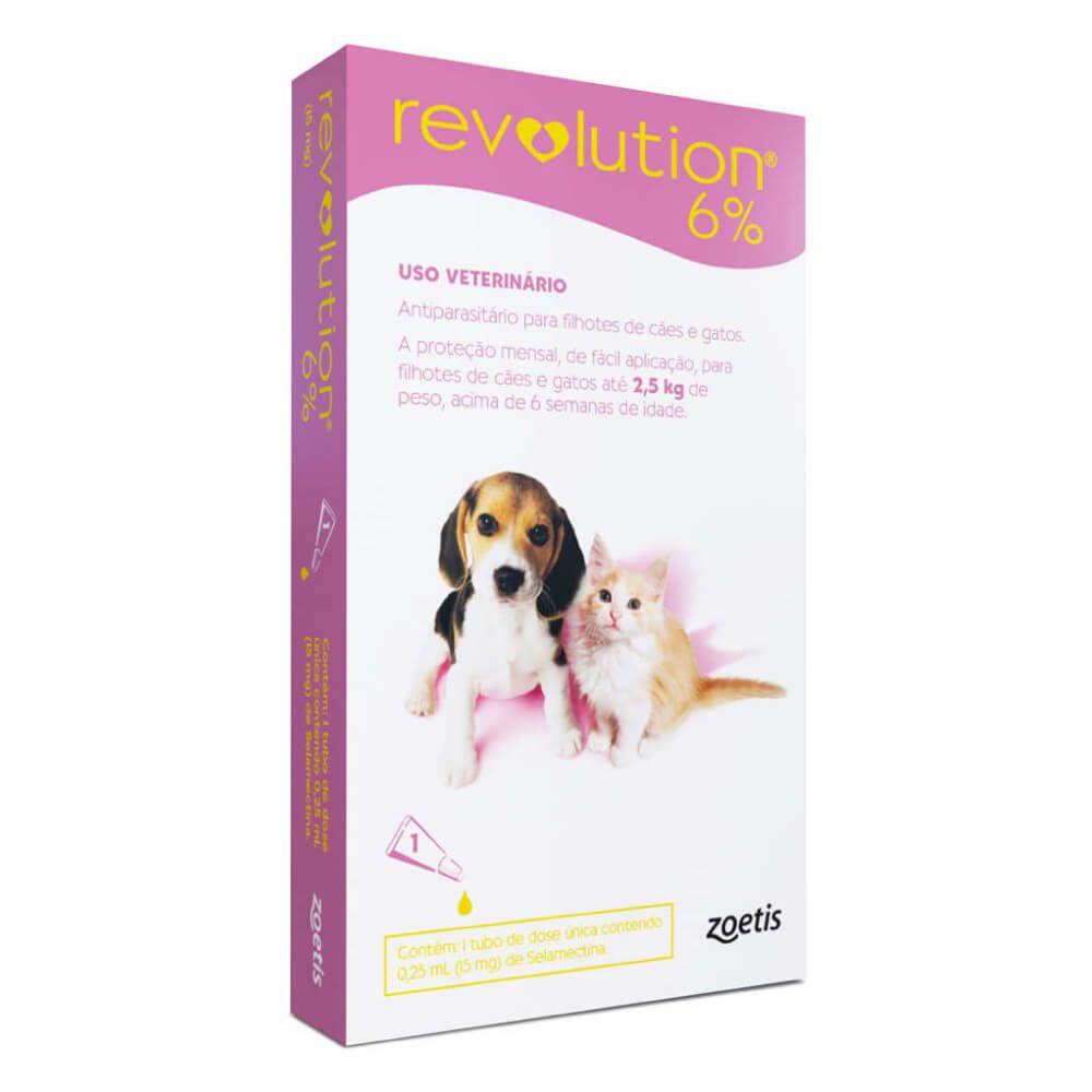 Antipulgas e Carrapatos Zoetis Revolution 6% para Filhotes de Cães e Gatos de até 2,5 Kg - 15 mg  - Focinharia