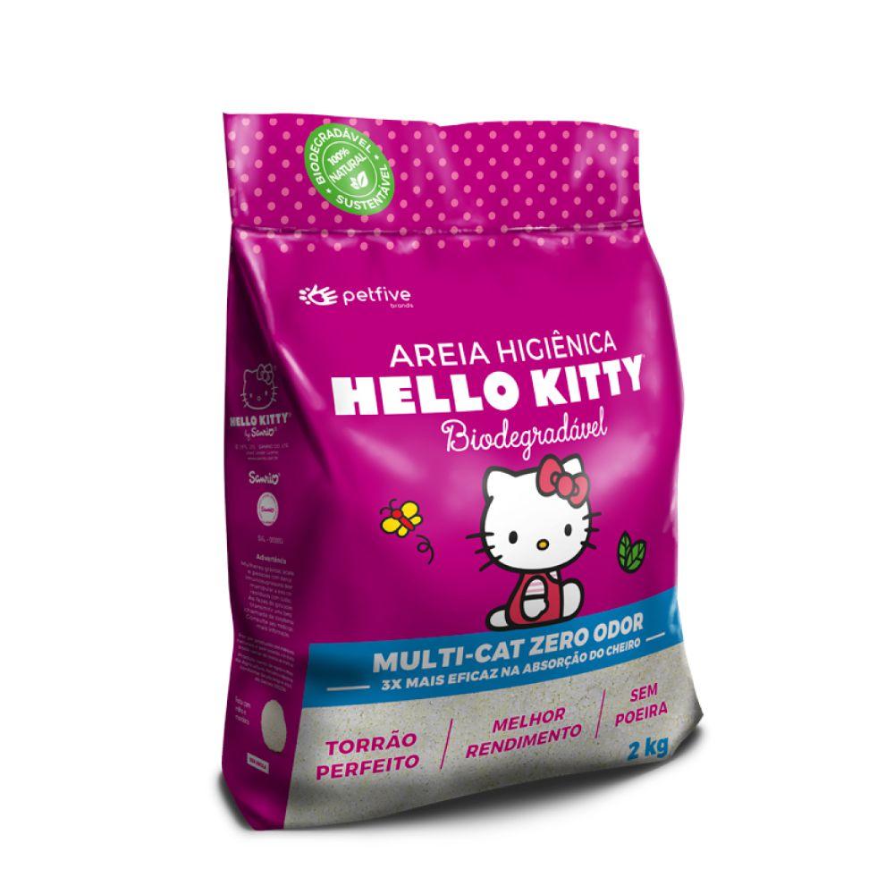 Areia Higiênica Biodegradável Fina Hello Kitty Rosa  - Focinharia