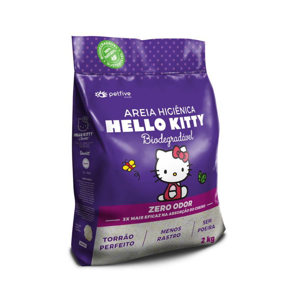 Areia Higiênica Biodegradável Grossa Hello Kitty Roxa  - Focinharia