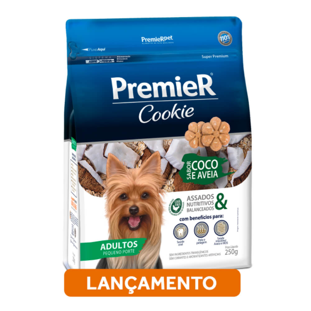 Biscoito Premier Cookie Coco e Aveia para Cães Adultos de Raças Pequenas  - Focinharia