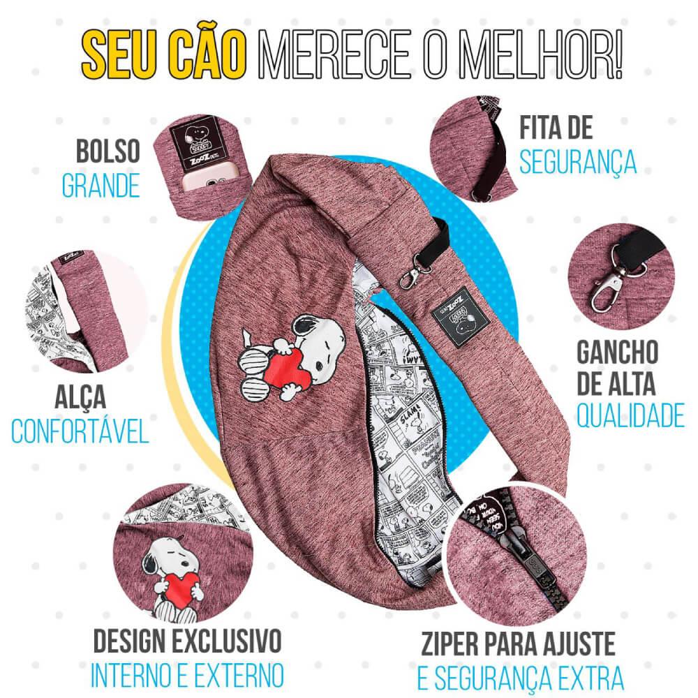 Bolsa Sling Snoopy Heart Hug Zooz Pets Vinho  - Focinharia