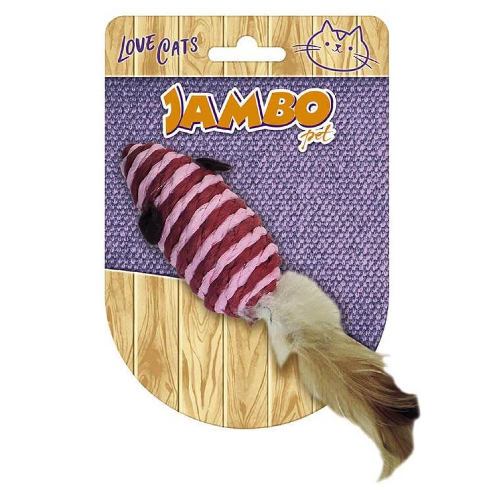 Brinquedo Jambo Palha Rato com Pena  - Focinharia