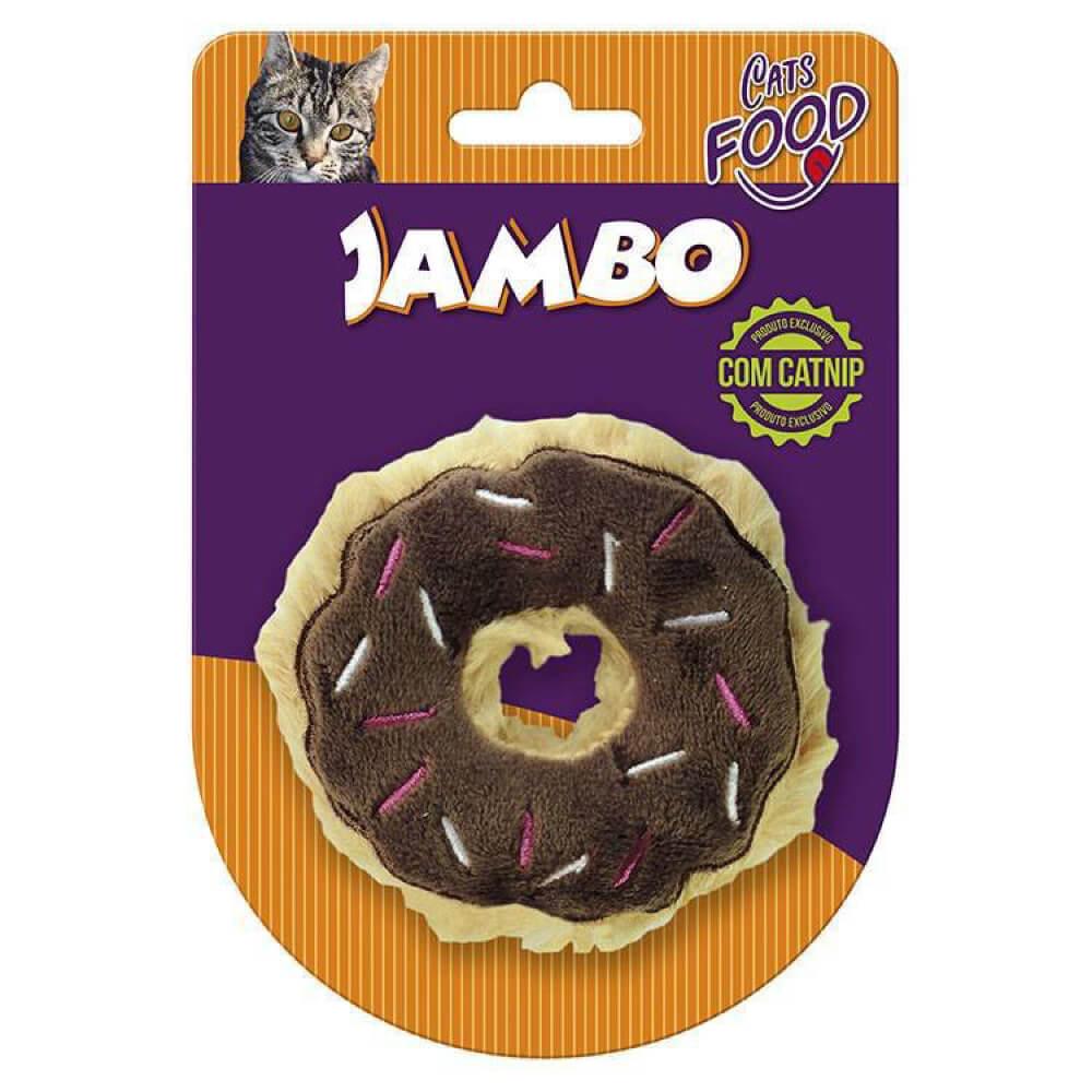 Brinquedo de Pelúcia com Catnip Jambo Food Cat Donut Chocolate  - Focinharia