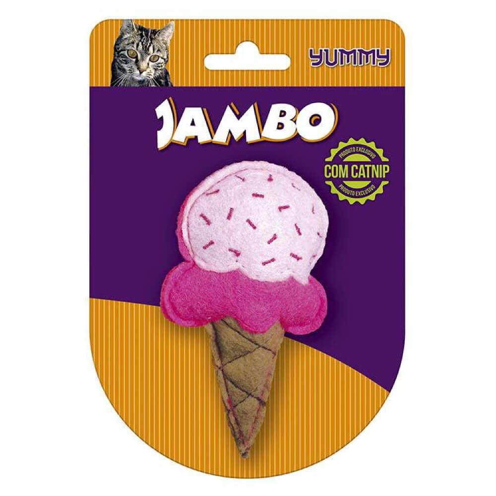 Brinquedo Jambo Yummy Cat Sorvete Rosa com Catnip  - Focinharia