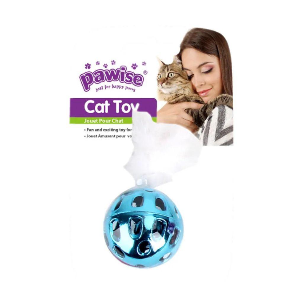 Brinquedo para Gatos Pawise Bola Metálica com Pluma  - Focinharia