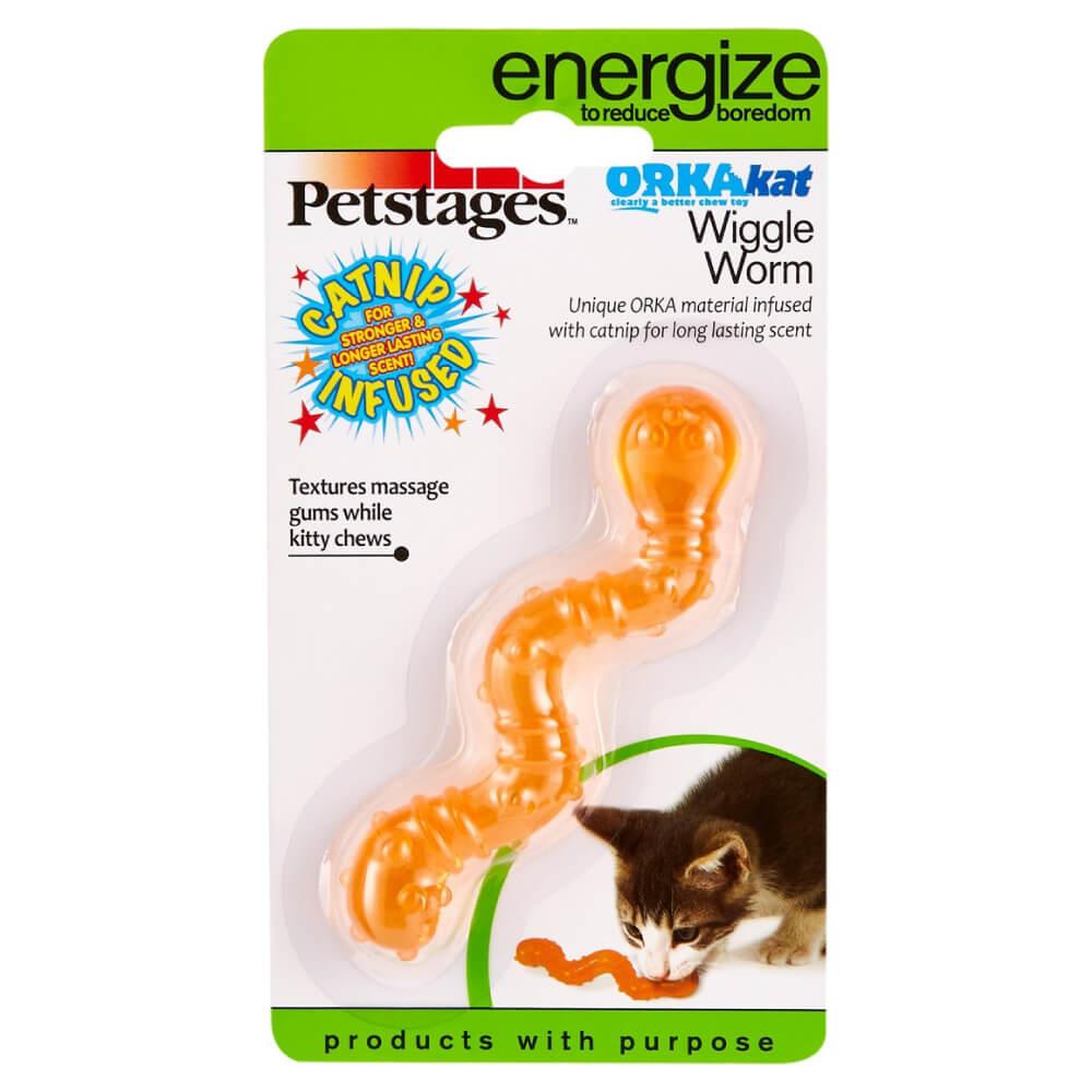 Brinquedo Petstages Wiggle Worm Minhoca com Catnip  - Focinharia