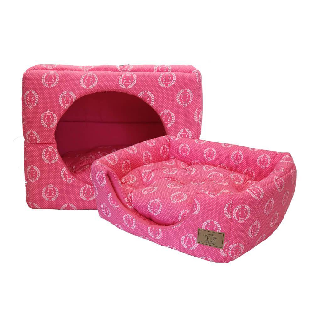 Cama Túnel 2 em 1 Fábrica Pet Coroa Rosa Tamanho M  - Focinharia
