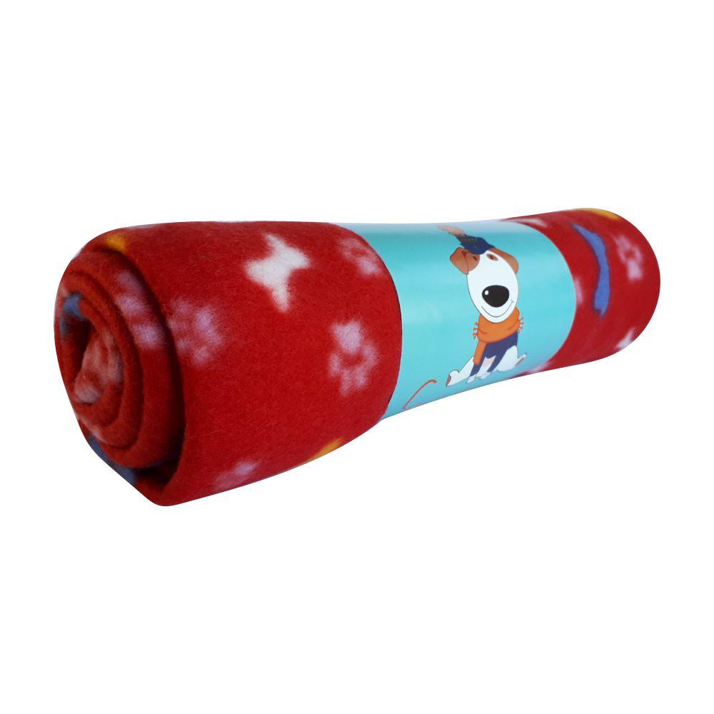 Cobertor Soft Emporium Distripet Ossinhos Vermelho  - Focinharia