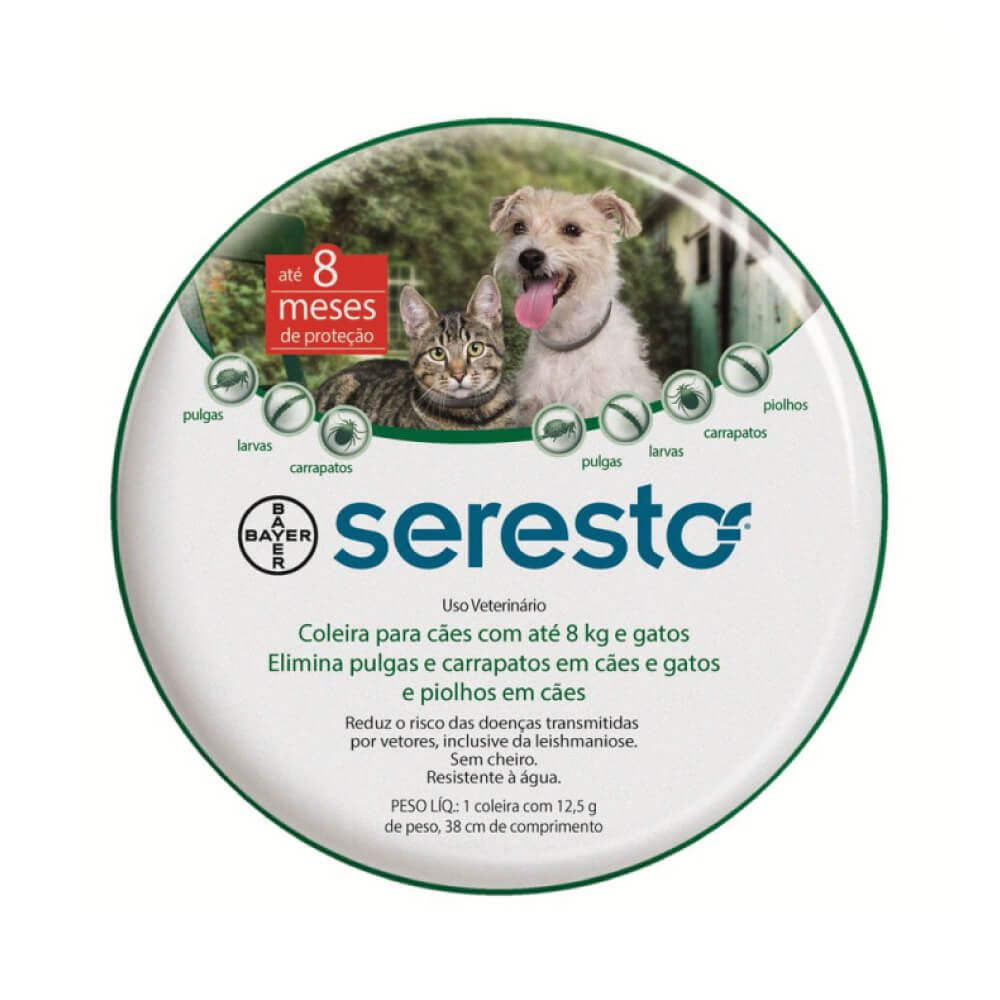 Coleira Seresto Antipulgas e Carrapatos Bayer para Cães e Gatos de até 8Kg  - Focinharia