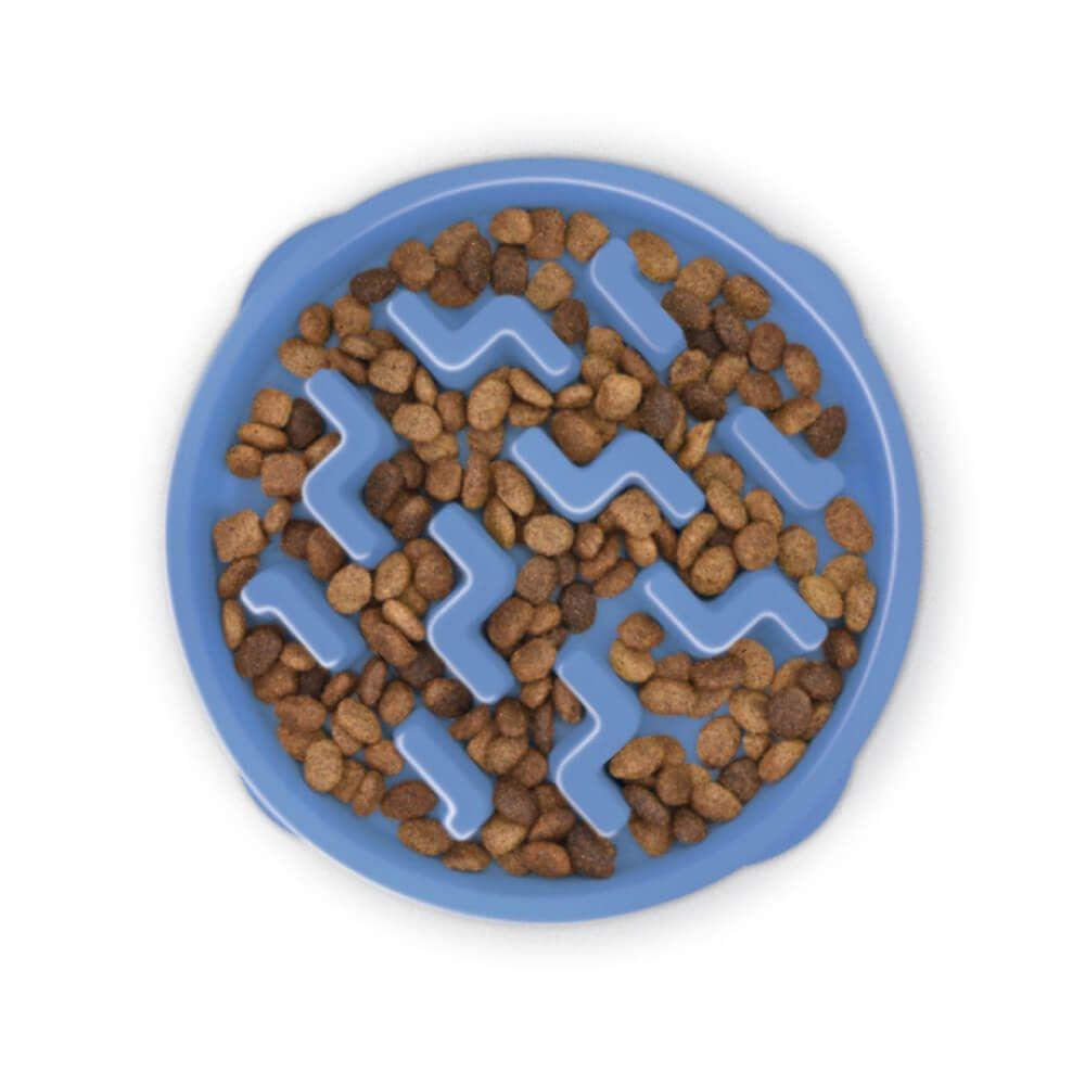 Comedouro Lento para Cães Outward Hound Fun Feeder Azul  - Focinharia