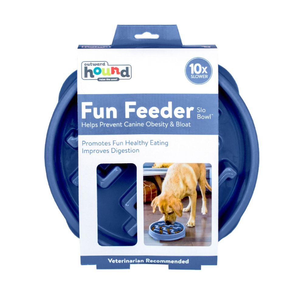Comedouro Lento Outward Hound Fun Feeder Azul  - Focinharia