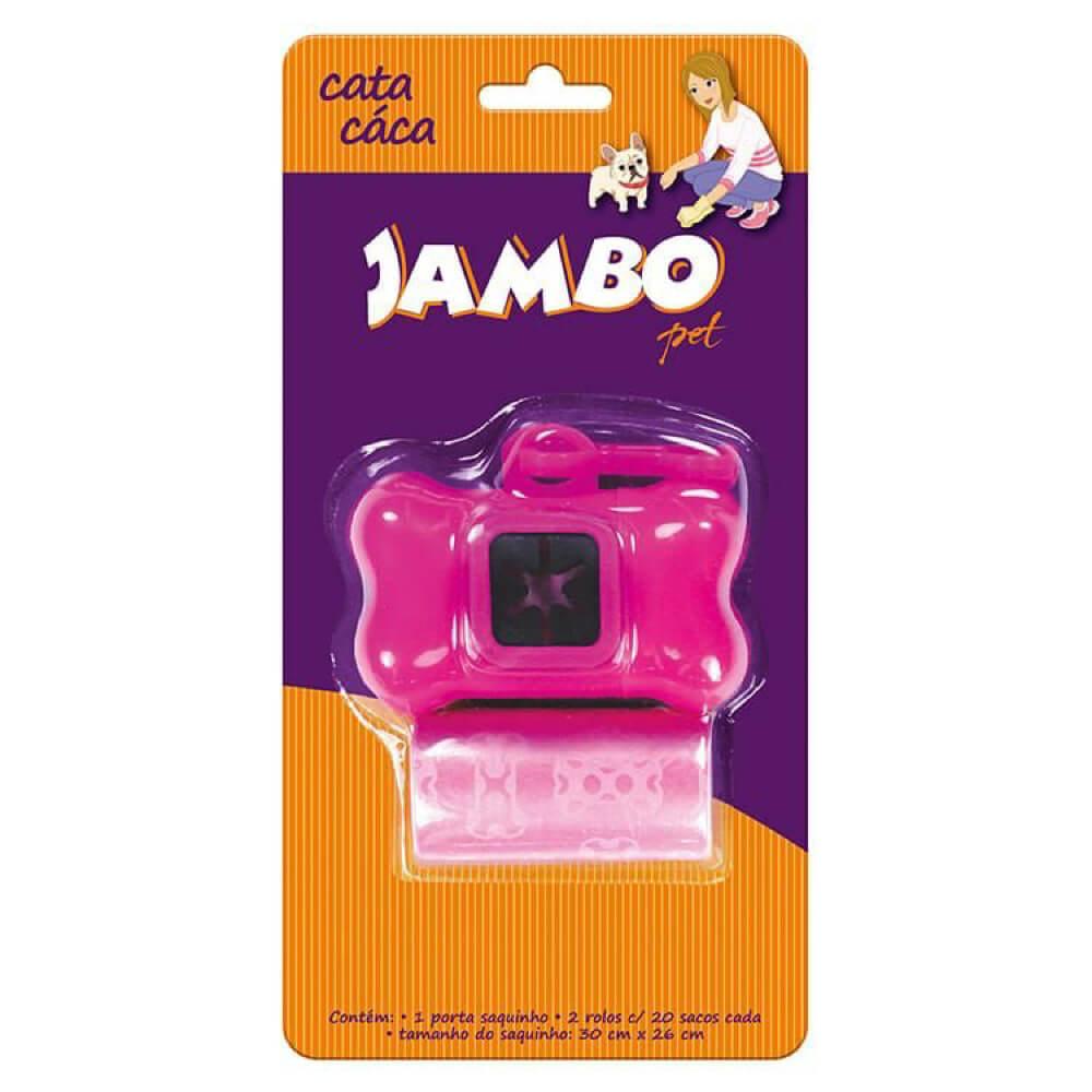 Kit Porta Cata Caca Jambo Basic com 2 Rolos - Rosa  - Focinharia