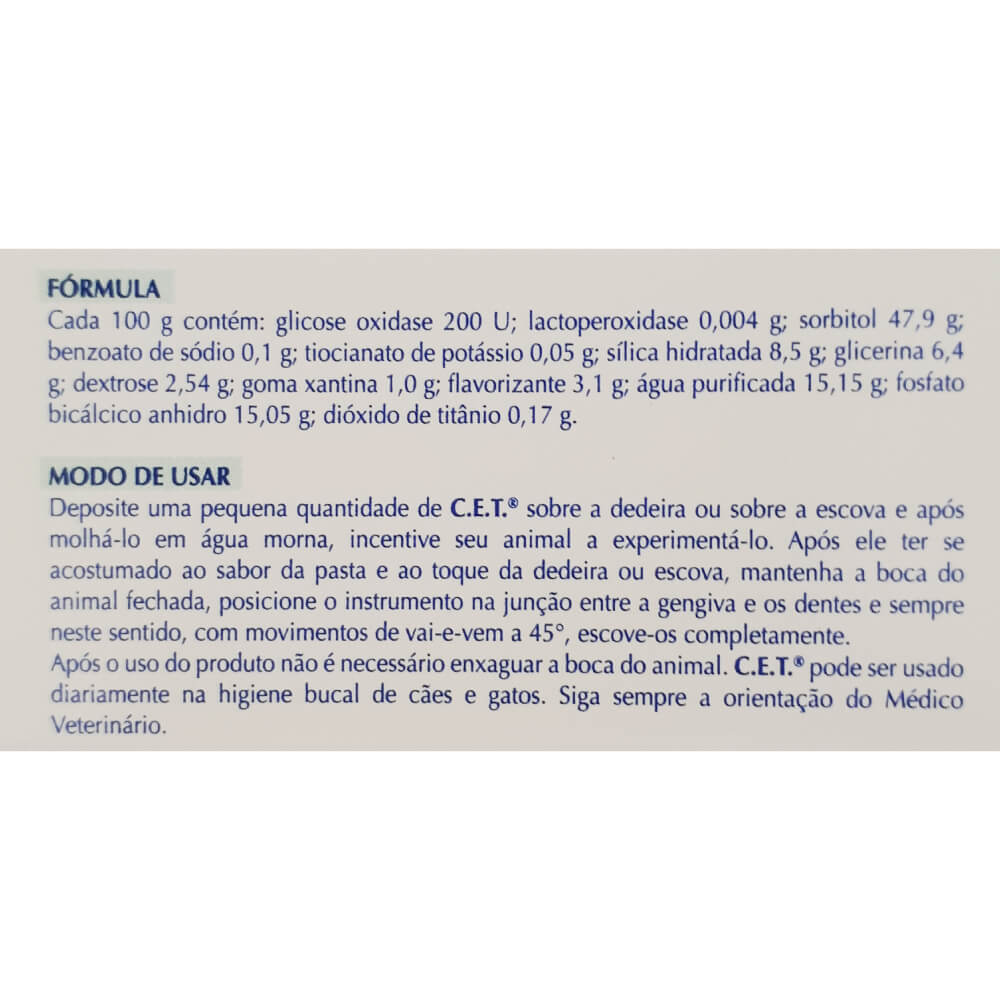 Pasta Dental Enzimática Virbac C.E.T. 70 g para Cães e Gatos  - Focinharia
