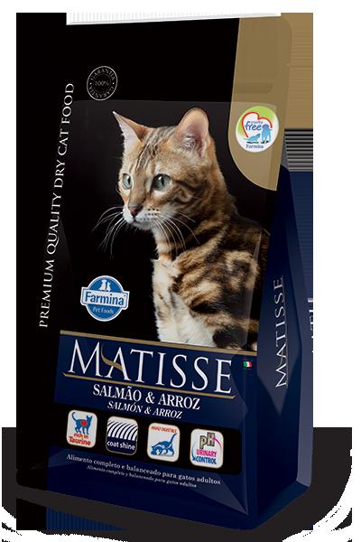 Ração Farmina Matisse Salmão e Arroz para Gatos Adultos - 7,5 Kg  - Focinharia