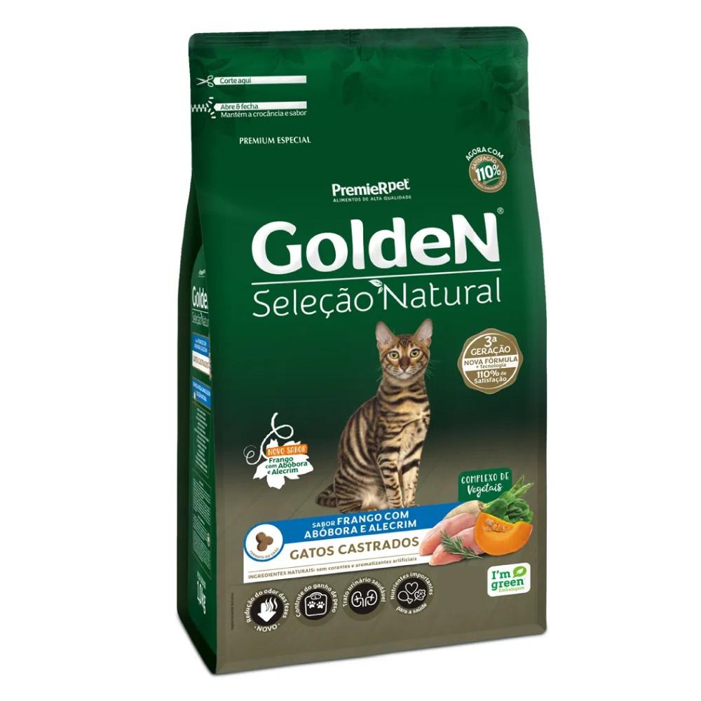 Ração Golden Seleção Natural Frango, Abóbora e Alecrim para Gatos Castrados  - Focinharia